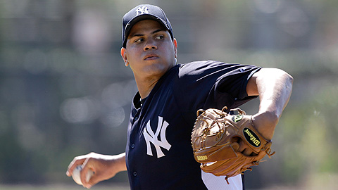 Dellin Betances is competing for a spot on the Yankees' pitching staff.
